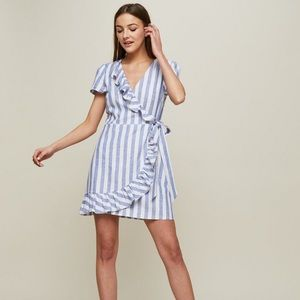 Miss Selfridge Petite striped wrap dress